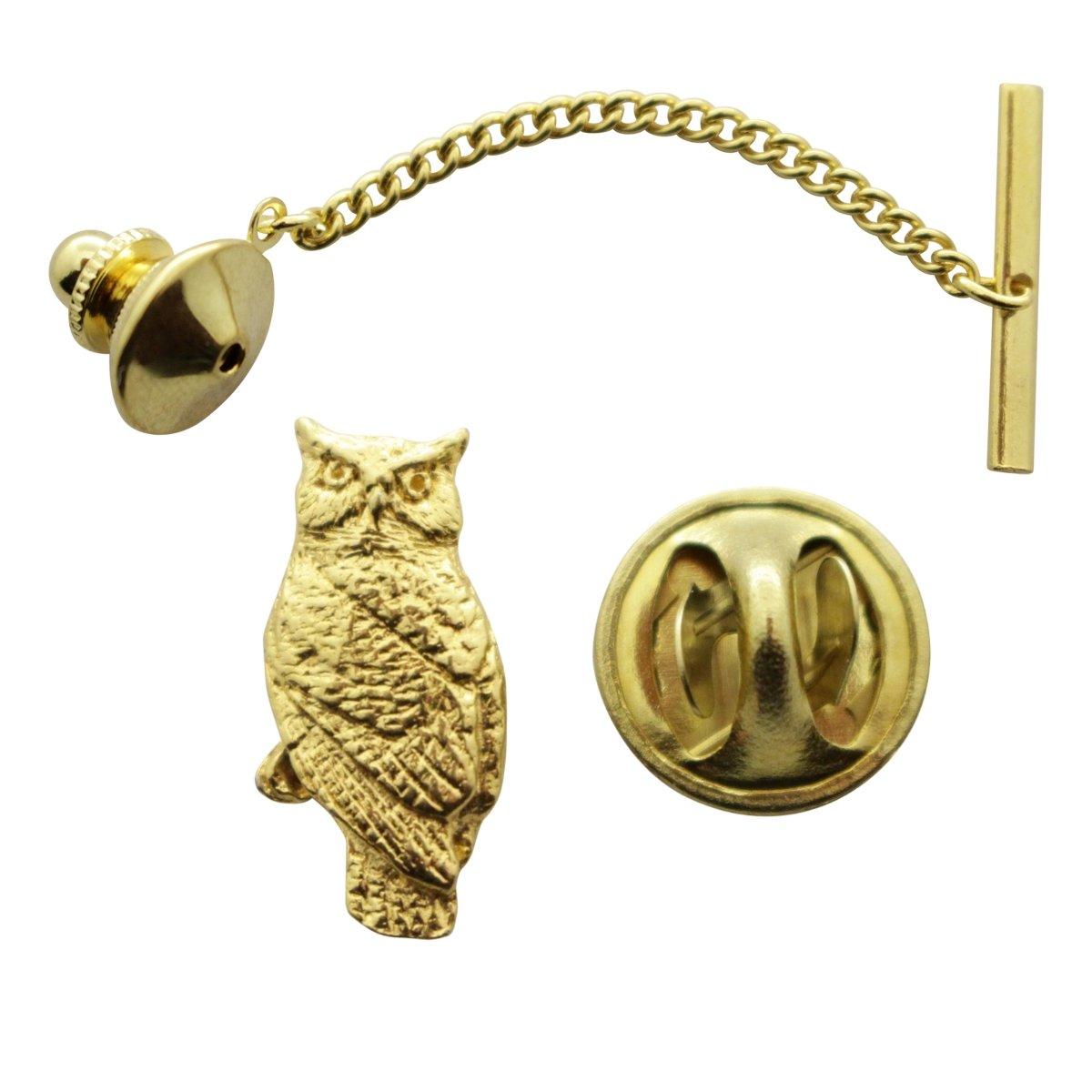 Sarahs Treats /& Treasures Owl Tie Tack ~ 24K Gold ~ Tie Tack or Pin