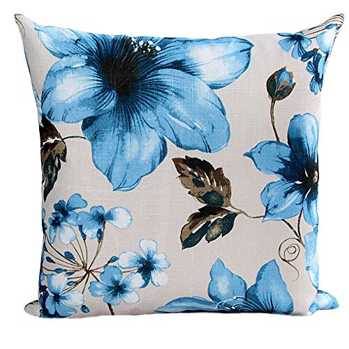 (charmsamx Azaleas Pattern Decorative Throw Pillow Covers Cushion Cover Chinese Embroidery Flower Printed Pillowcase with Smooth Hidden Zipper18'' x 18'' ONLY for Couch, Sofa, or Bed (Green))