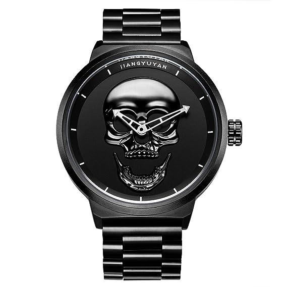 jiangy uyan Caliente Pirata Mode cráneo Estilo Cuarzo Hombres Relojes Marca Hombres Military Acero Inoxidable Hombres Reloj Deportivo Resistente al Agua ...