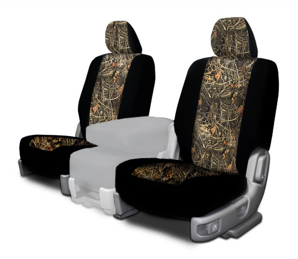 CarsCover Custom Fit 2009-2016 Dodge Ram 1500 2500 3500 Pickup Truck Wetsuit Neoprene Car Front Seat Covers Camo and Black Sides Driver & Passenger Cover Real Maple Forest Tree leaf Camouflage Covers