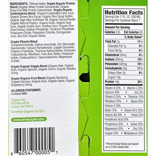 Orgain Organic Nutrition Shake - Mocha - 11 fl oz - - 3 x 4-Packs (12 Units total)