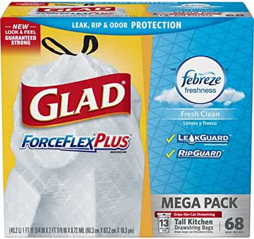 Glad ForceFlex Tall Kitchen Odor Shield Drawstring Trash Bags, White - 13 gal - 68 ct