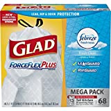 Glad ForceFlexPlus Tall Kitchen Drawstring Trash Bags - Febreze Fresh Clean- 13 Gallon - 68 Count (Packaging May Vary)