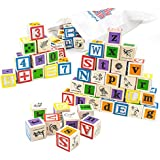 Professor Poplar's Ultimate Alphabet and Number Blocks (50pcs.) with Cloth Storage Bag by Imagination Generation