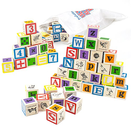 Wood Letter Cube - Professor Poplar's Ultimate Alphabet and Number Blocks (50pcs.) with Cloth Storage Bag by Imagination Generation