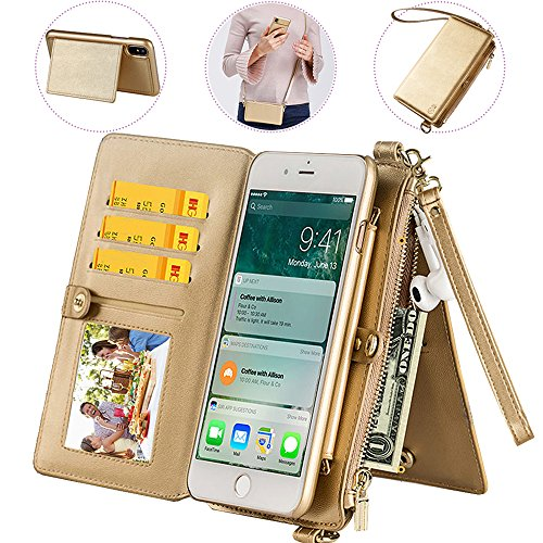 iphone6S Plus Wallet Case with Wrist/Shoulder Strap,Auker [12 Card Holder] 2 in 1 Flip Leather Wallet Case with Detachable Phone Case&Zipper Money Pocket Fold Stand Purse Bag for iPhone 6Plus (Gold)