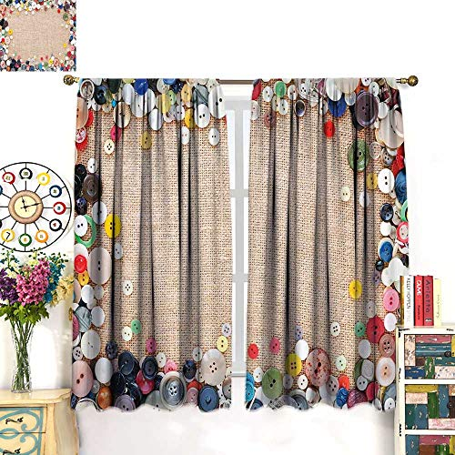 WinfreyDecor Vintage Customized Curtains Buttons Collection Fabric Texture Canvas Frame Sewing Needlecraft Contemporary PictureBlackout curtainLight Brown. W72 x L63