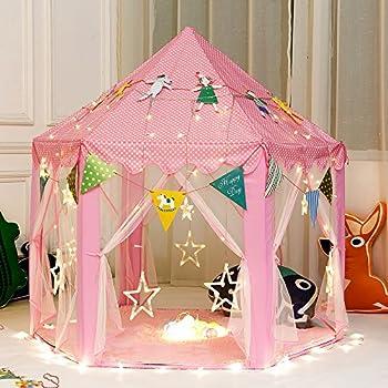 Amazon.com: IsPerfect Kids Indoor Princess Castle Play Tents ...
