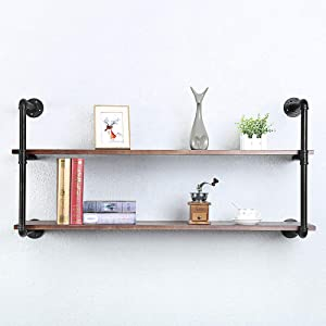 Industrial Pipe Shelving Wall Mounted,48in Rustic Metal Floating Shelves,Steampunk Real Wood Book Shelves,Wall Shelf Unit Bookshelf Hanging Wall Shelves,Farmhouse Kitchen Bar Shelving(2 Tier)