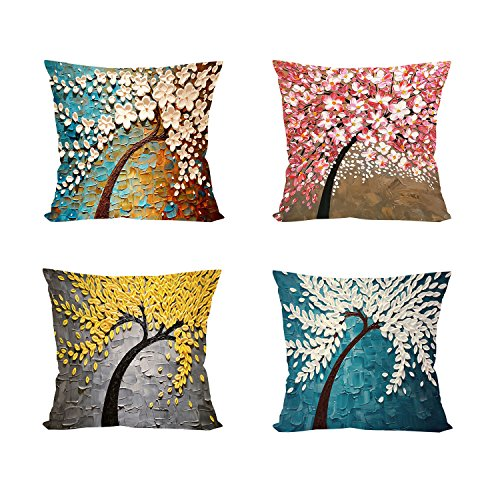 uare Pillow Cover Decorative Cushion Cover Pillowcase Four Season Flower Decoration for Sofa Bed Chair Car Set of 4, 45cm x 45cm ()