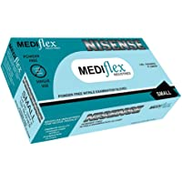 Mediflex Nisense Powder Free Blue Nitrile Gloves - Thickness 4mil, Micro Textured Fingertips, Non Sterile, Food & Safety AS/NZS Standards 4011.1:2014, EN 455, ASTM D6319, ISO 11193-1:2008 (S, Blue - 100/BX)