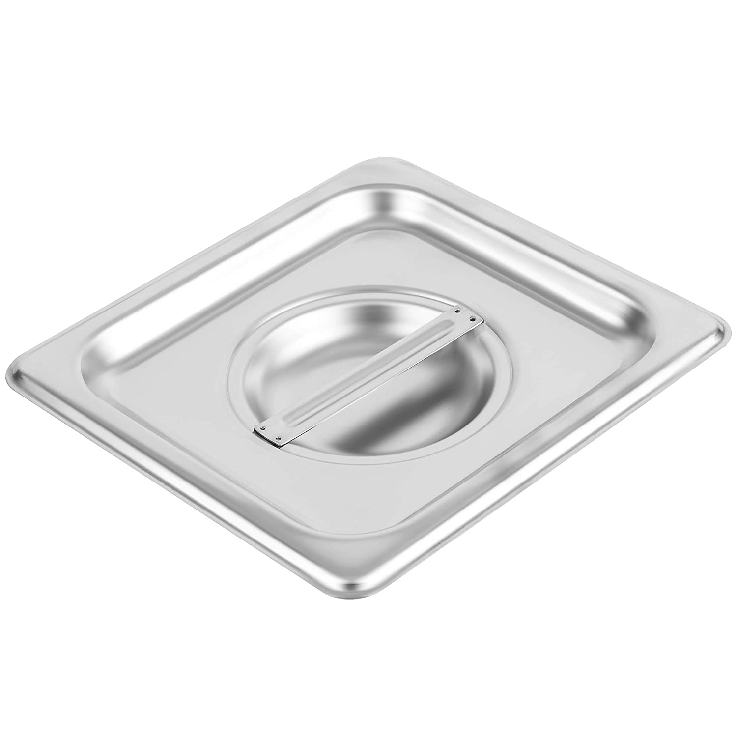 1/6 Size Stainless Steel Solid Steam Table Pan Cover, Pan Lids, Non-Stick Surface, Lid for 1/6 Size Steam Pans with Handle