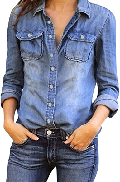 Poachers Chemisier En Jean Femme Chemise Manche Longue Chic Boutons Chemisier Blouse Mode Couleur Pure Tops Ete Taille S à 3xl Amazon Fr Vêtements Et Accessoires