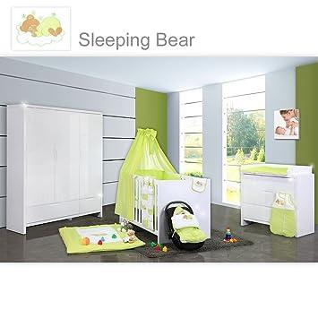 Babyzimmer junge grün  Babyzimmer Luiy Hochglanz 20-tlg. mit 3 türigem Kl. + Sleeping Bear ...