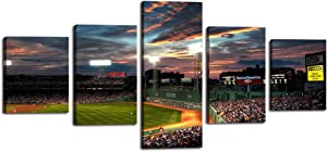 Fenway Park Wall Art Canvas Painting 5 Panels Picture of Baseball Game Modern Poster Print Artwork Office Bedroom Home Decor for Living Room House Present Framed Gallery Wrap Stretched (50