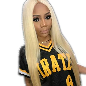 Amazon.com   Rongduoyi Best Synthetic Lace Front Wigs Women Long Straight  Blonde Wig Glueless With Baby Hair Heat Resistant Fiber Hair Half Hand ... 27620c7588