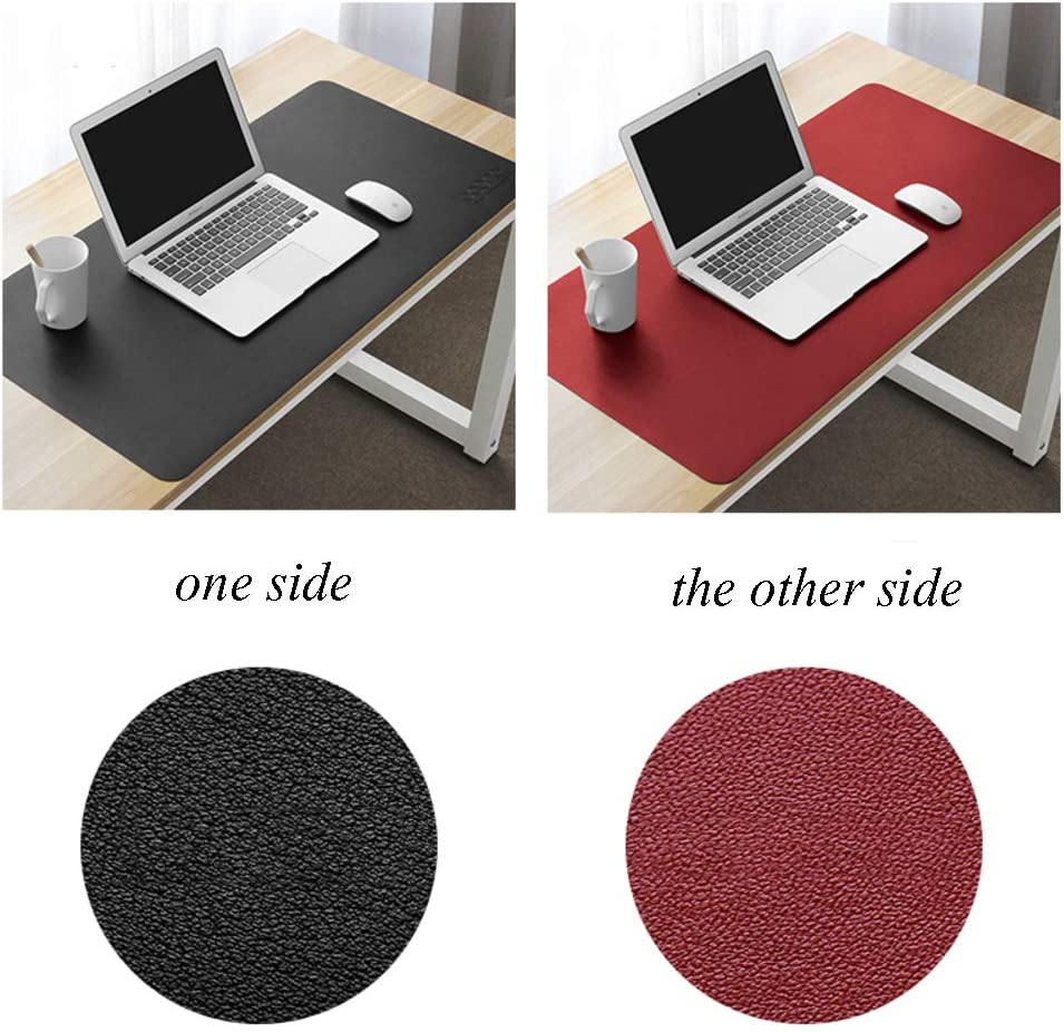 47x24inch F-LFJBK Office Desk Pad Protector Double Side PU Leather Writing Mat,Anti-Slip Waterproof Mouse Pad Laptop Computer Keyboard Desk Blotter Mat-Pink+Silver 120x60cm