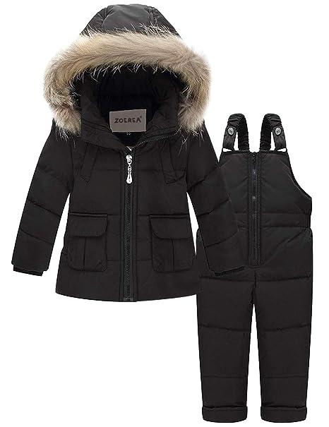 ZOEREA Bebé Traje de Nieve Niña Traje de Esquí Invierno Conjuntos de Ropa Infantil Niños Abrigos Chaqueta con Capucha + Pantalones 2 Piezas