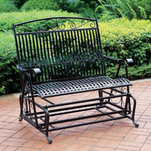 International Caravan 52587-OG-165257-O-852733 Iron Outdoor Double Patio Glider Chair, Verdigris by International Caravan