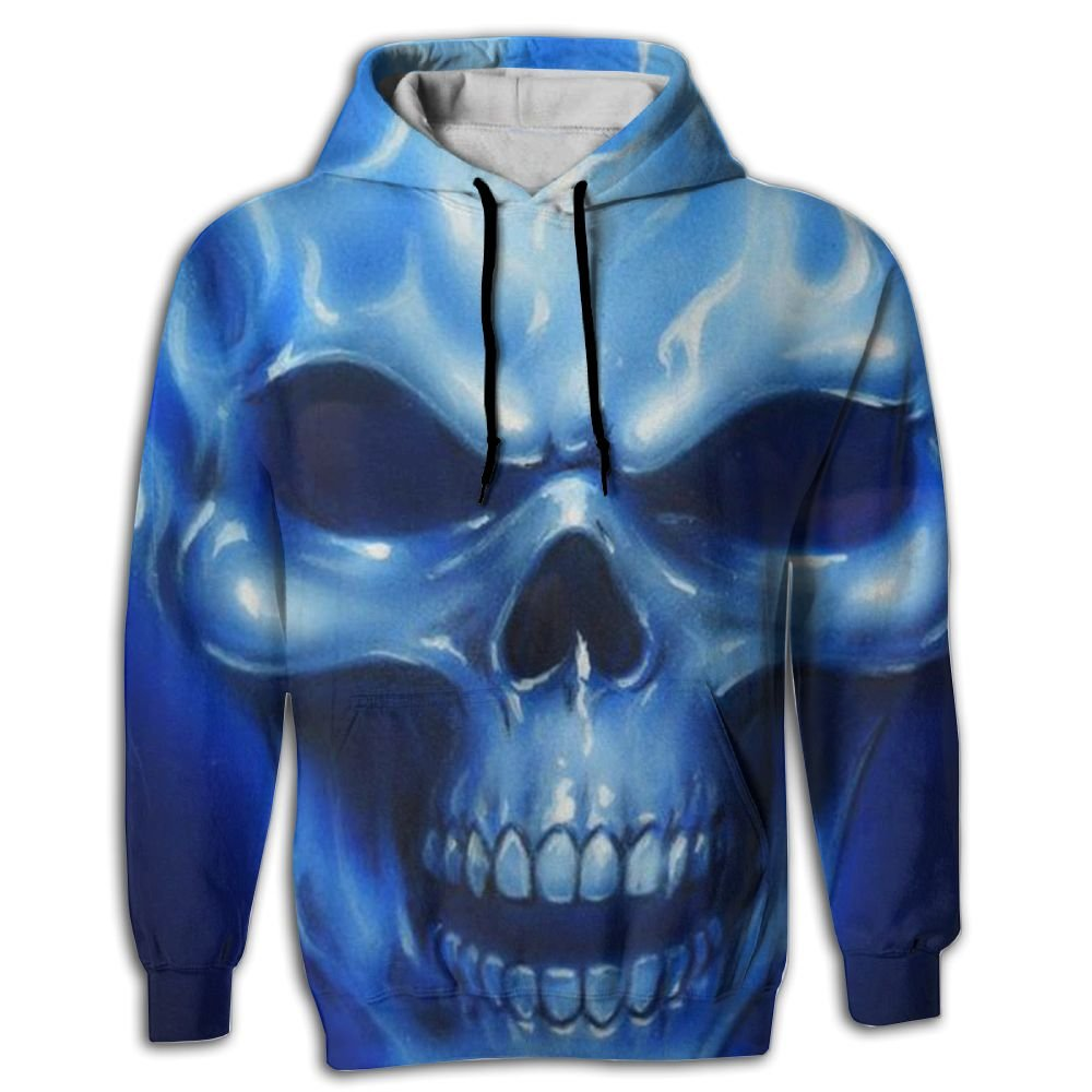 QQMIMIG Unisex Blue Flames Skull 3D Printed Pullover Long Sleeve Fleece Hooded Sweatshirts with Pockets