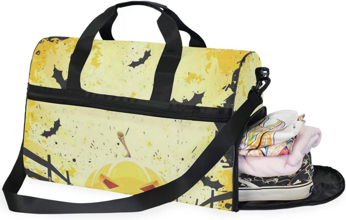 Gym Bag Grungy Halloween With Pumpkins And Bats Sport Duffle Holdall Bag Training Handbag Yoga bag for Men Women
