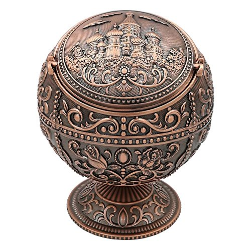 Honoro Windproof Ashtray with Lids,Metal Vintage Cigarettes Ashtray for Outdoor Indoor Use,Unique Ashtray for Home Office Tabletop Decoration,Nice Gift for Men and Women(Castle Red Bronze)