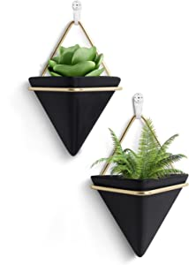 FairyLavie 4'' Hanging Planter, 2 Pack Ceramic Geometric Wall Planters Plant Holder Container with Hooks for Indoor Outdoor Wall Decor, Ideal Gift for Family Friends