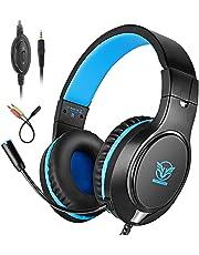 Bovon Auriculares Gaming, Cascos PS4 con Microfono para Xbox One, Nintendo Switch, PC, Auriculares Estéreo de 3.5 mm y Bass Surround Cancelacion Ruido para Tablet, Teléfono Móvil y Mas (Azul)