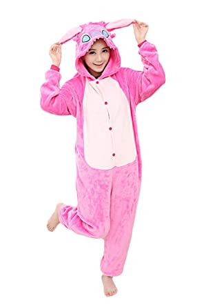 bba2e53fcc Image Unavailable. Image not available for. Color  Yimidear Unisex Adult Pajamas  Pink Stitch Onesie Cosplay Costume Sleepwear