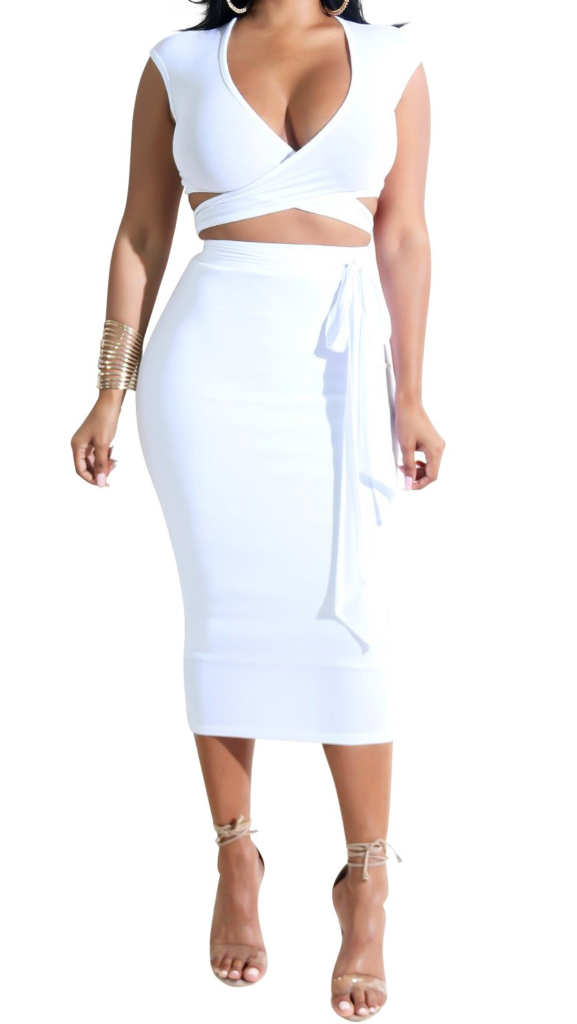 Bodycon4U Women's Clubwear Summer Ruffle Crop Top Two Piece Outfit Bandage Bodycon Midi Dresses White XL