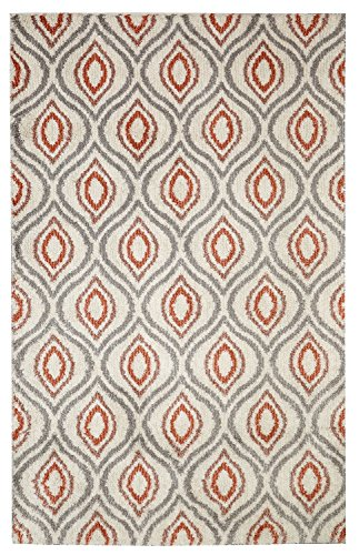 Mohawk Home Laguna Ogee Waters Coral Geometric Contemporary Soft Shag Area Rug, 5' x 8', Coral and Grey