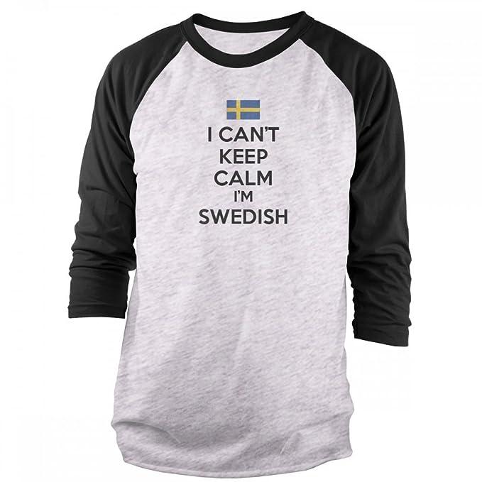 c24d6f948 Amazon.com: Vine Fresh Tees - I Can't Keep Calm I'm Swedish 3/4 Sleeve  Raglan T-Shirt: Clothing