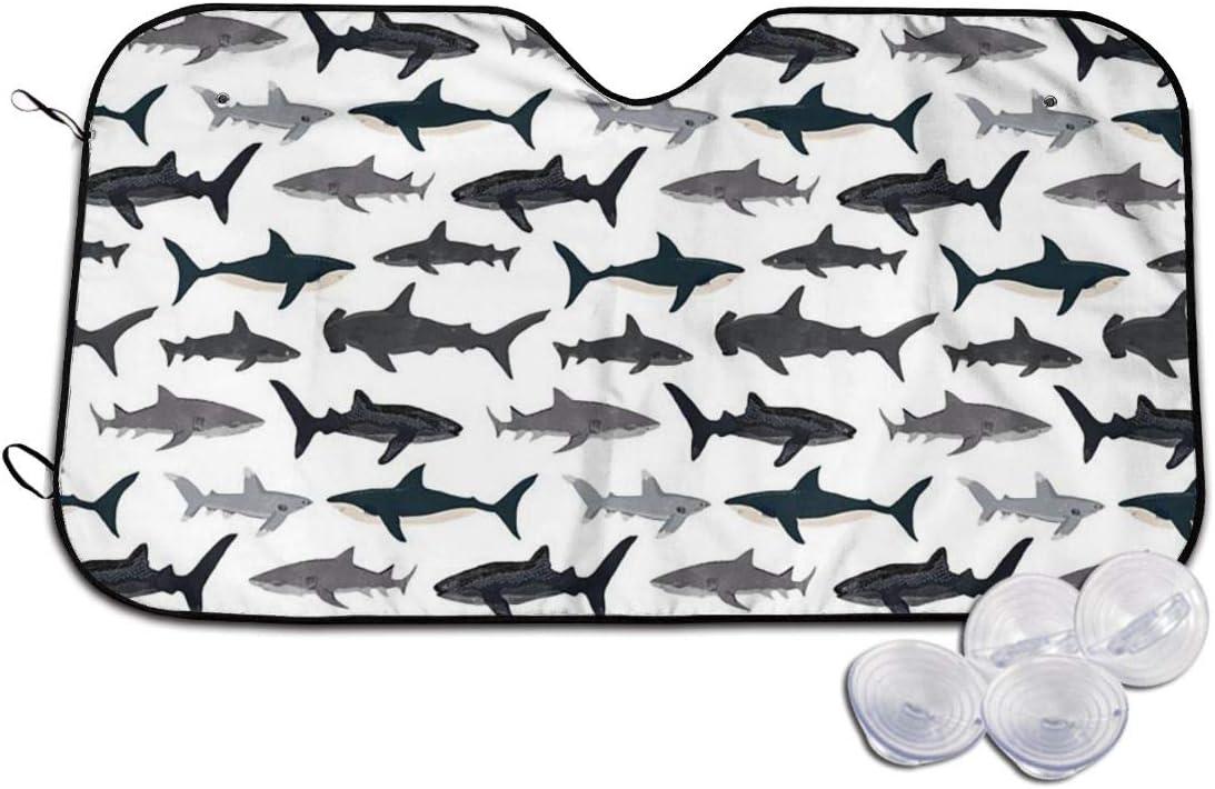 TMVFPYR Accordion Style Car SUV Front Windshield Sharks Nautical Boys Sunshade