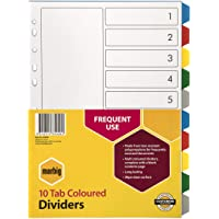 Marbig 35020 Dividers PP A4 Coloured 10 Tab White
