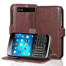 Vena® BlackBerry Classic / Q20 Case [vFolio] Vintage PU Flip Leather Wallet Stand Case Cover [Card Pockets] for BlackBerry Classic (Brown/Black)