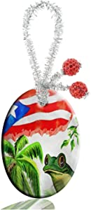 FQJNS Blue Butterfly Custom Fashion Personalized Oval Porcelain Ornaments Christmas Ornaments Home Decoration (Flag of Puerto Rico Palm Frog)