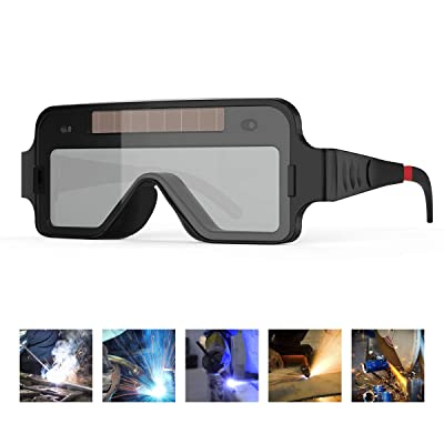 YESWELDER True Color Solar Powered Auto Darkening Welding Goggles, 2 Sensors Welder Glasses for TIG MIG MMA Plasma
