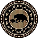 "Rug Empire 7'10"" Round Take the Lead Black Bear Rustic Lodge Area Rug – 7'10"" X 9'10"" Circle"