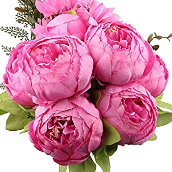 LeagelFake Flowers Vintage Artificial Peony Silk Flowers Bouquet Wedding Home Decoration, Pack of 1 (Spring Rich Pink)
