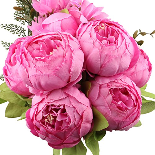 Leagel Fake Flowers Vintage Artificial Peony Silk Flowers Bouquet Wedding Home Decoration, Pack of 1 (Spring rich pink) (Silk Flower Stems Peony)