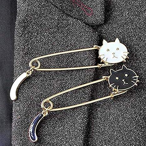 Blanco AIUIN 1 unids Broche Pin Forma Gatito Lindo Creativo Ramillete Broche de Aleaci/ón Decoraci/ón Elegante Navidad D/ía de San Valent/ín