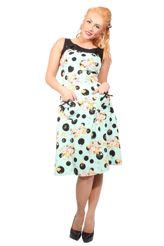 SugarShock Damen RETRO Rosen POLKA DOTS vintage Blumen Rockabilly A-Line Kleid mint