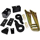 1 - 3 Inch Front + 2 Inch Rear Lift Kit 2001 - 2010 Silverado 1500HD 2500HD 3500HD 2wd 4wd Torsion Keys + Rear Lift Blocks + Bolts + Shock Extenders + Alignment Shims Full Suspension Leveling Kit