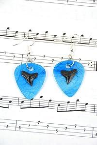 Bull Shark Tooth & Guitar Pick Earrings