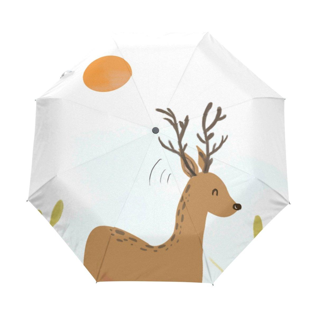 Senya Saobao防風と防雨トラベル傘with自動開いて閉じFolding小さなキリンポータブル折りたたみ式太陽雨傘   B07FFSDND3