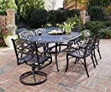 Home Styles 5554-3358 Biscayne 7-Piece Outdoor Dining Set, Black Finish For Sale