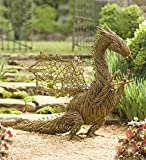 Hand-Crafted Real Grapevine Whimsical Dragon Garden Sculpture, Metal Wire Frame, 42¾ L x 23 W x 37½ H Inches