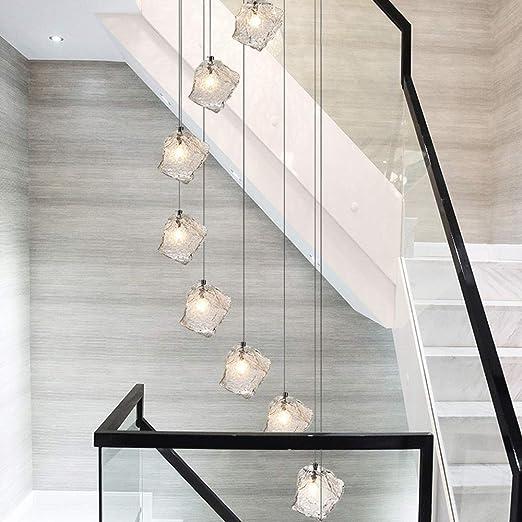 JiaJia lighting 10 Bolas de Cristal Lámpara en Forma de Espiral for Escalera Luces Colgantes largas Luces múltiples Lámpara de Techo Lámpara de diseño caída for Sala de Estar 35x200cm: Amazon.es: Hogar