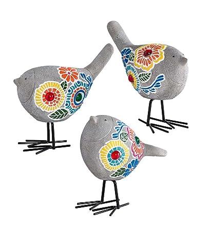 Plow U0026 Hearth Set Of 3 Painted Mosaic Garden Bird Sculptures, Outdoor Yard  And Garden