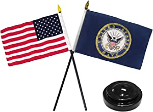 Moon US Navy USA Flag 4''x6'' Desk Set Table Stick Black Base Best Garden Outdor Decor Polyester Material Flag Premium Vivid Color and UV Fade Resistant
